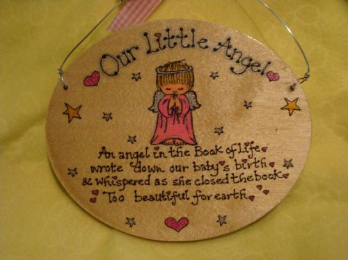 Too Beautiful For Earth Angel Baby Memorial Oval Wooden Sign Handmade Unique Item Personalised Plaque